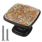 Perillas y manijas del gabinete Barba de calavera colorida Perillas de gabinetes de cocina Bling Dresser Drawer Knobs for Girls Set de 4 3x2.1x2 cm
