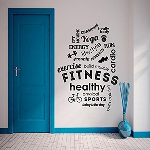 Adesivo Da Parete Da Palestra Fitness Citazione Parola Motivazionale Ispirazione Decalcomanie Artistiche Gym Wall Sticker Arredamento In Vinil Esercizio Di Salute Dumbell Nero 55x80cm Di Nia Art