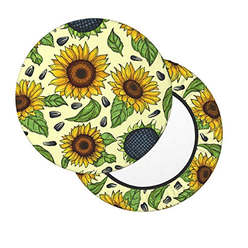 FASHLOVE Round Bar Stool Covers,Yellow Sunflowers 2 Pieces Velvet Elastic and Soft Washable Stool Chair Slipcover for Home Bar Hotel Use, Dia.12-14' Chair