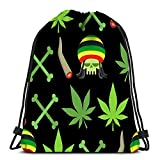 Kkyoxdiy Drawstring Backpack Bags Jamaica Drugs Rasta Skull and Leaf Cannabis Spliff Bones Smoking Pushing Sports Gym Bag