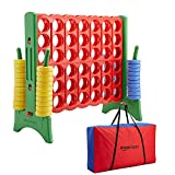 Amazon Basics Giant BPA-free 4-In-A-Row Premium Plastic Game Set with Carry Bag, Red&Green