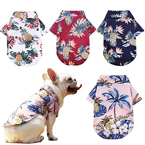Pack of 4 Hawaiian Dog Shirt Summer Breathable Pet Clothes Dog Sweatshirts Cool Coconut Tree Pineapple Beach Dog Shirts for Small Medium Large Dog Cat Boy Girl Cute Dog Polo Apparel XS-5XL (Large)