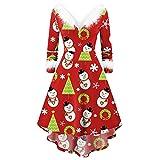 Fannyfuny Damen Weihnachtskleid Weihnachten Party Kleider Damen Weihnachtsmann Kostüm Samt Kleid...