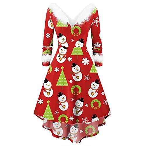 Zldhxyf Vestido de fiesta de Navidad de color rojo con muñeco de nieve y baile, asimétrico, de cintura alta, sexy, de Papá Noel, de peluche, cuello en V, rojo, L
