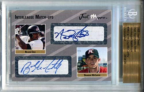 Nelson Cruz & Brandon McCarthy Autographed 2005 Just Minors Card (BVG) - Baseball Slabbed Autographed Cards