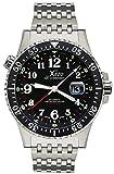 Xezo Air Commando D45-R Automatikuhr, bis 300Meter wasserdicht, für Taucher und Piloten, Swiss Made, Automatik-Uhr mit 3Zeitzonen