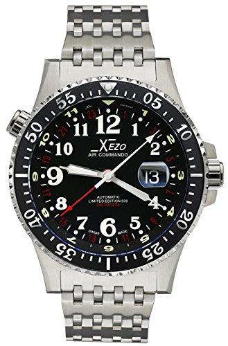 Xezo Air Commando D45-R, orologio svizzero automatico resistente all'acqua fino a 300 metri, 3 fusi orari