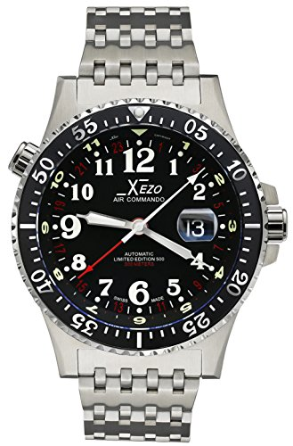 Xezo Air Commando D45-R, 300 Meters Water-Resistant Dive and Pilot Swiss Automatic GMT Watch with 3 Time Zones