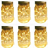 Mason Jar Solar Lights Lanterns, 6 Pack 30 LEDs Fairy Firefly Led String Lights with Glass Mason Jar,for Garden Patio Outdoor Solar Powered Hanging Lanterns(Jars & Hangers Included)