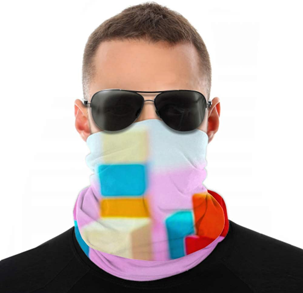 Headbands For Men Women Neck Gaiter, Face Mask, Headband, Scarf Colorful Stack Wood Cube Building Blocks Turban Multi Scarf Double Sided Print Womens Headbands Fashion For Sport Outdoor