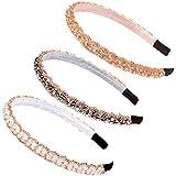 3 Piezas Diademas de Diamante de Imitación, Diademas de Moda de Cristal Brillante, Diadema Retro Sencillo, para Accesorios de Pelo Mujer Niña, 3 Colores (B)