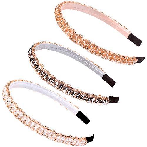 3 Stücke Glitter Strass Stirnbänder, Mädchen Elegant Haarband, Modische Haarreife mit Strass und Kristall, für Frauen Mädchen Haarschmuck, 3 Farben (B)