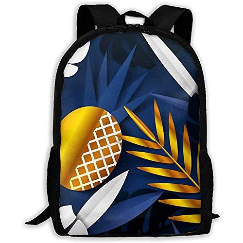 Herren/Damen,Personalisiert,Outdoor-Umhängetasche,Schultasche,Großer Rucksack Leichter Sommerrucksack mit Tropenblättern aus Papier,Verstellbarer Oxford-TagesRucksack Passend für Laptop,Reisetasche,Sc