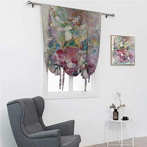 GugeABC Drapes for Bedroom Watercolor Roman Blinds for Window Oriental Dance Theme Young Girl Performing in Traditional Costume Fantasy Figure 48' Wide by 72' Long Multicolor