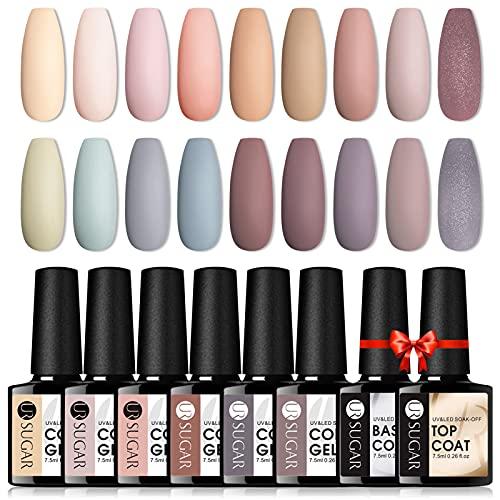 UR SUGAR UV Nagellack Nudefarben Gel Nagellack Set Shellac Nude Braun Klassisch Farben Top Coat Base Coat Kit Gelnägel Farben Pastell Nail Art 18+2PCS