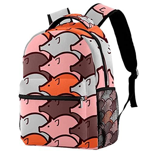 Kinderrucksack für Kindergarten Grundschule Unisex Jugend Rucksack mit Netztasche Schwein Cartoon 29.4x20x40cm