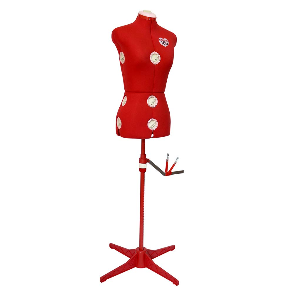 Adjustable Red Dress Form Foam Backing for Pinning Sewing Made Easy 360 Degree Hem Guide Fits Sizes 4-10 SINGER