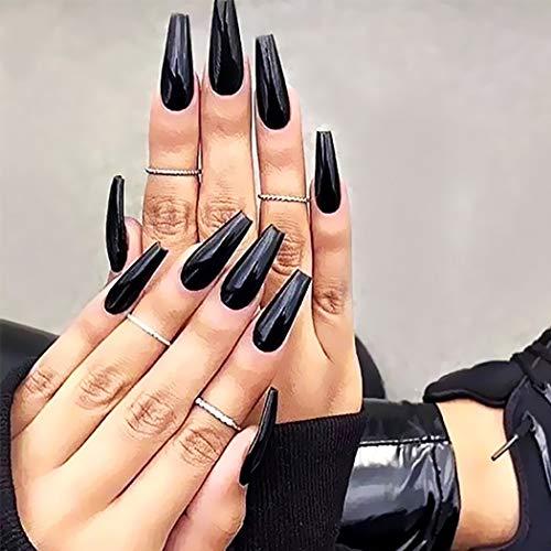 Brishow Sarg Künstliche Fingernägel Lange Falsche Nägel Reine Farbe Stick on Nails Ballerina Glänzende Vollabdeckung Acryl Falsche Nagelspitzen 20Pcs für Frauen und Mädchen (Schwarz)
