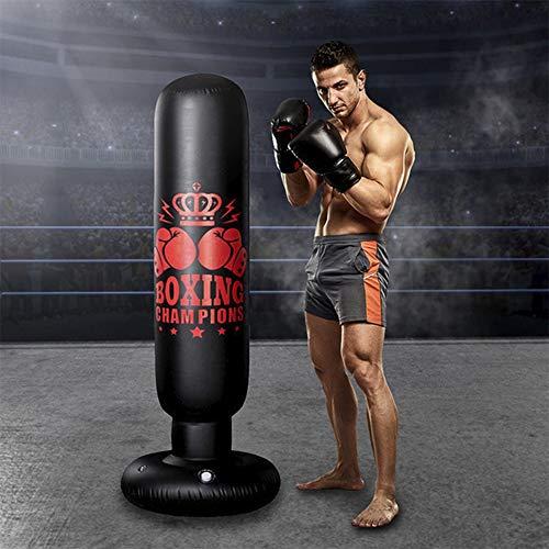 Sac de Frappe 160CM,Sac de Boxe Adulte Professionnel Rempli Lourd,Sac de Sable à Colonne de Gobelet Autoportant avec Une Pompe à Air à Pied Libre,Pratique du Kickboxing,Karaté,Taekwondo,MMA