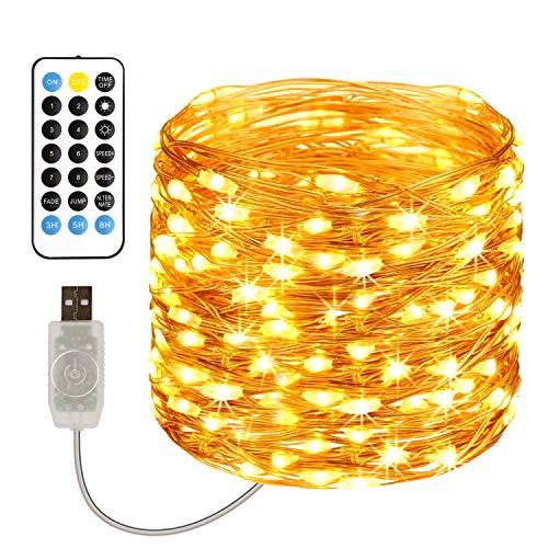 TOPYIYI Guirnalda Luces, 120 LED 12M Cadena de Luces USB Impermeable IP65, Luces Navidad y Luces de Hadas para Decorativas, Fiestas, Bodas, Patio, Dormitorio Jardines Festivales(Blanco Cálido)