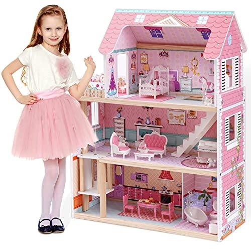 ROBUD Casa de muñecas para muñecas pequeñas para niñas, juego de juguetes de madera, casa de muñecas, casa rosa, regalo para niños a partir de 3 años
