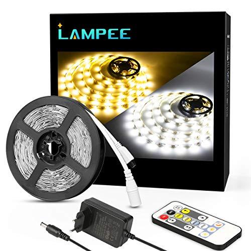 Lampee 5m Dimmbar LED Streifen Set, Warmweiß und Tageslichtweiß mit dimmbaren Farbauswahlen LED Strip Leiste Lichtband für Wohnzimmer, Party DIY Dekoration