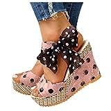 Winging Sandalias Mujer Plataforma Cuñas Tacónmoda Lunares Zapatos con Cordones Sandalias Puntiagudas con Tacón de Cuña Y Boca de Pez Decoración de Lazo Ligero Y Transpirable 36-49EU