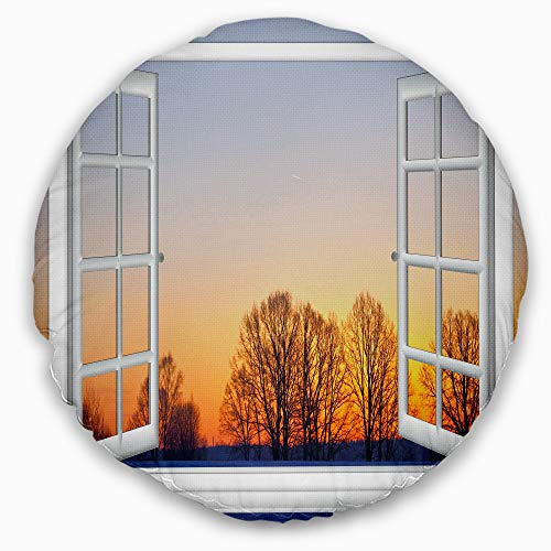 Designart Window to Sunset Over The Snow' Landscape Wall Throw Round Living Room, Sofa, High Quality pillow insert + Cushion Cover Printed On Both Side 16'