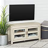 Walker Edison Furniture Simple Wood Stand for TV's up to 48' Living Room Storage, White Oak (WQ44CFDWO)
