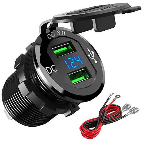 Quick Charge 3.0 Car Charger, Higoing 12V/24V 36W Aluminum Waterproof Dual QC3.0 USB Fast Charger Socket Power Outlet Adapter LED Digital Voltmeter& Wire Fuse kit (Black)