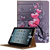 JYtrend iPad 2 /iPad 3 /iPad 4 Case, Multi-Angle Viewing Stand Leather Folio Smart Cover with Pocket, Auto Wake Up/Sleep for Model A1395 A1396 A1397 A1403 A1416 A1430 A1458 A1459 A1460 (Heart Flower)