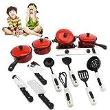 AimdonR 13 Teile/Satz Kinder Küche Rot Besteck Spielzeug Baby Anzug Spielen Funktion Kochutensilien Lernspielzeug