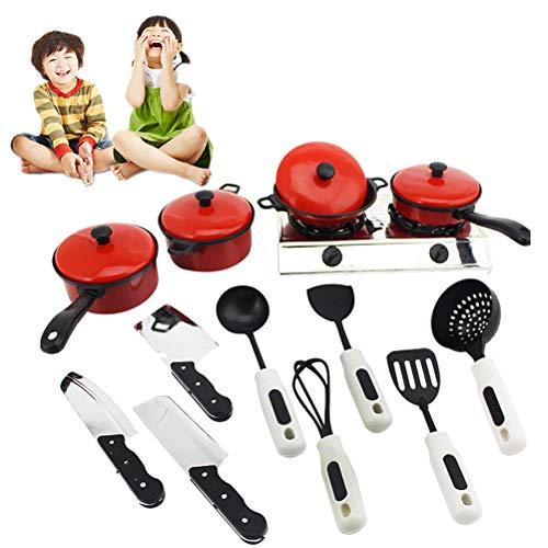 kylew Utensilios de Cocina Rojos, Juego de Juegos de Comida, Utensilios para cocinar y Comer y Accesorios, Utensilios educativos para niños, Cocina de Juego, 13 Piezas