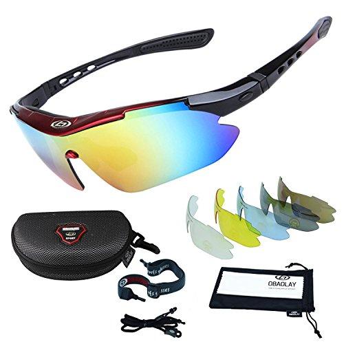 Sincewe Occhiali da Sole Sportivi, Anti-UV 400 Protezione Ciclismo Occhiali da Sole con 5 Lenti Intercambiabili,Uomo e Donna Antivento Aviatore Specchio per MTB,Bici,Moto,Trekking Casual-Nero