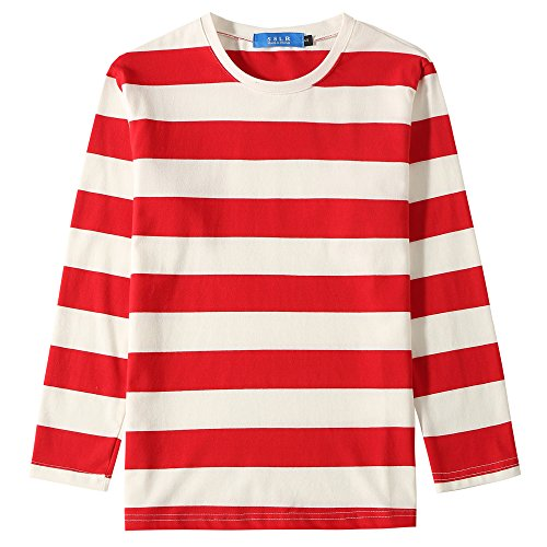 SSLR Big Boys' Cotton Crew Neck Casual Long Sleeves Stripe T-Shirt (Large(14-16), White Red)