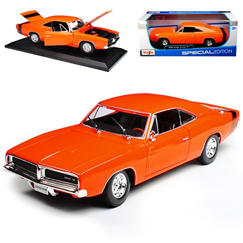 Maisto Dodge Charger R/T Coupe Orange 1969 Bekannt aus The Fast and The Furious 1/18 Modell Auto