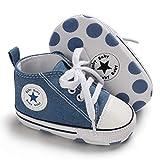 Babycute Zapatos de Lona para bebés Zapatillas de Deporte Zapatillas de Deporte Casuales de Suela Blanda niñas de bebés Zapatos de Primeros Caminantes con Cordones (0-6 Meses, A2-Blue)