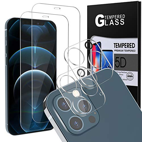 """[4Pack] 2 Pack Screen Protector Tempered Glass for iPhone 12 PRO 5G (6.1"""") + 2 Pack Camera Lens Protector Tempered Glass for iPhone 12 PRO, HD Clear Case Friendly Anti-Scratch Bubble Free"""