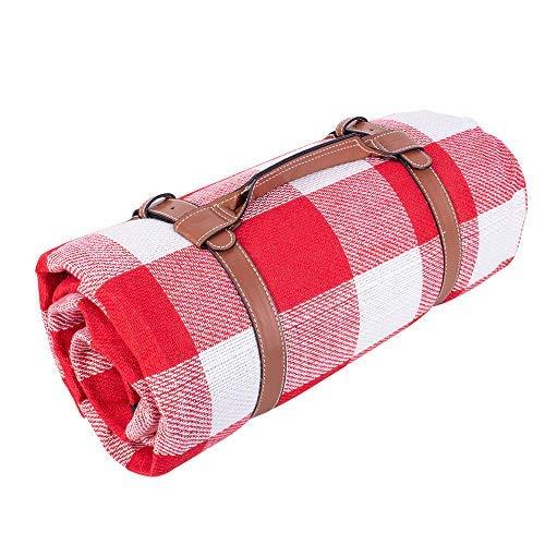 SPGOOD Picknickdecke 220 X 200CM 3XL 2-6 Personen wasserdichte Campingdecke wärmeisoliert Familiengröße Matte für Picknicks, Essen im Freien, Camping, Strand (Rot-weißes quadratisches Plaid)