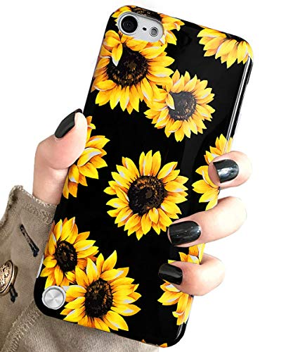 J.west Case for New iPod Touch 7, iPod Touch 6th Generation, iPod Touch 5 Vintage Floral Cute Yellow Sunflowers Clear Soft Cover for Girls/Women Flex Silicone Slim Pattern Design Drop Protective Case