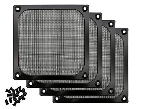 120mm Computer Fan Filter Grills with Screws, Ultra Fine Aluminum Mesh, Black Color - 4 Pack