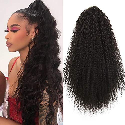Heat Resistant Synthetic Kinky Straight Ponytail Long Afro Kinky Curly Hair Bun Extension With Two Plastic Combs Hairpiece (K-2#)