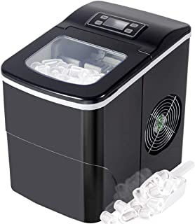 Tavata Countertop Portable Ice Maker Machine with Self-clean Function, 9 Ice Cubes ready in 8 Minutes,Makes 26 lbs of Ice per 24 hours,with LCD Display (Black 1)