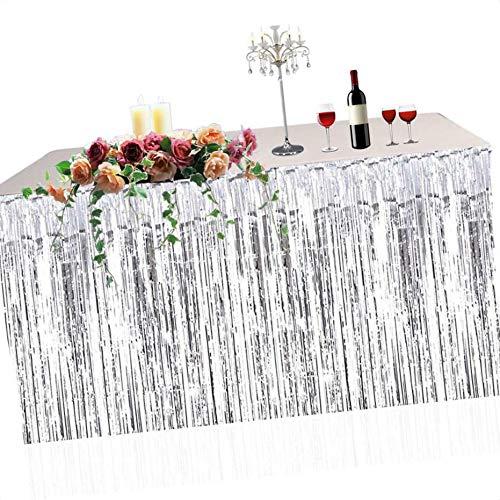 Demino Metallic Fringe Foil Table Rock Tinsel Tabelle Vorhang für Luau Party-Geburtstags-Sommer-Jahrestag Weihnachten Tischdekoration Silber- 74 * 274cm