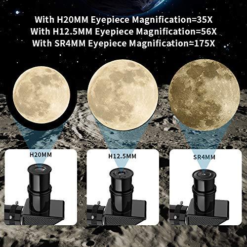 Telescopio Astronomico 700/60mm Telescopio Rifrazione per Bambini Principianti Adulti con treppiede regolabile Include manuale, treppiede, 3 oculari, lente 1.5 / 3x