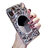 iPhone Makeup Mirror Case 8 Plus,iPhone 7 Plus Bling Glitter Clear Crystal Full Diamonds Luxury Sparkle Transparent Rhinestone Protective Phone Case Cover Bumper for Woman Girls with Screen Protector