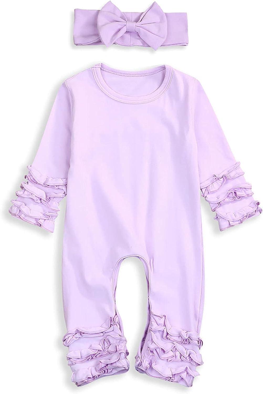 Newborn Baby Girls Fold Ruffle Infant Jumpsuit Solid New life cheap Romper Long