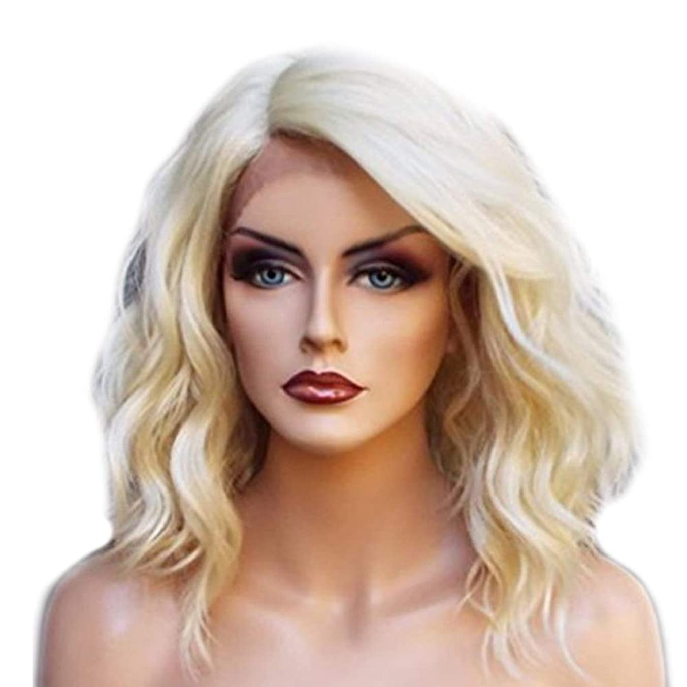 歩き回るエレガントストラトフォードオンエイボンYOUQIU 女子金髪ショートカーリーヘアレースフロントウィッグ自然な合成かつら毎日ウィッグを着用してください (色 : Blonde)