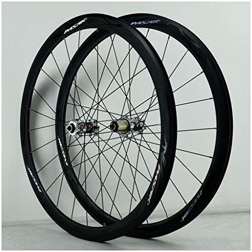 28 Zoll 29 Zoll MTB Fahrradradsatz, Doppelwandig V-Bremse 700C Rennrad 40MM Rad Fahren Scheibenbremse 24 Loch 7/8/9/10/11 Speed Laufräder (Color : Black, Size : 700C)