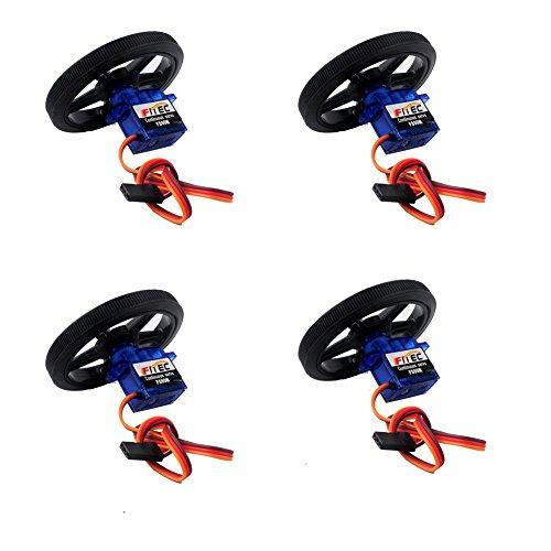 DIYmalls Feetech FS90R 360 Grad Kontinuierliche Rotation Micro Servo mit Radreifen für Arduino (4er Pack)